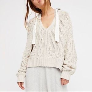 Free People Cable Knit Hoodie Oversized Sweater